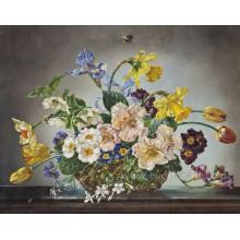 Pintura a óleo moderna da flor na lona
