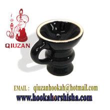 Exquise vitré narguilé moyen tête en céramique avec poignée