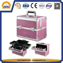 Средний розовый алюминий для переноски косметической косметической коробки для путешествий (HB-3166)