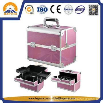 Caixa de maquiagem cosmética para transporte de alumínio rosa médio para viagens (HB-3166)