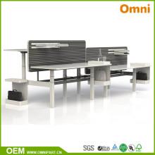 Vier Personen Höhenverstellbare Büromöbel Tisch