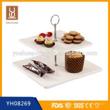Großhandel 2-Tier-Weiß-Porzellan-Kuchen-Plattenständer für Bankett