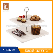 wholesale 2 tier white porcelain cake plate stand for banquet