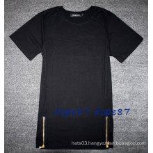 Black Plain Sides Zipper T-Shirt Lengthen Extend Style
