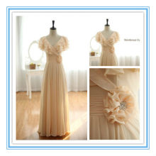 Elegant Short Sleeve Champagne Lace Up back Chiffon robe de soiree(AC-1206)