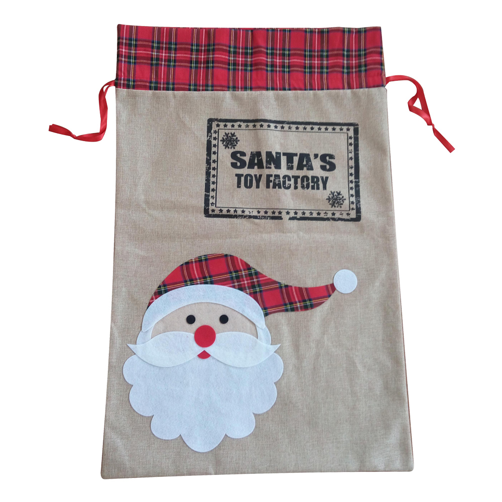 Large Christmas Santa Pattern Burlap Sack