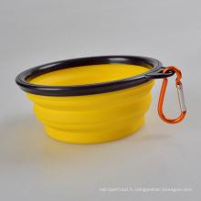 Le bol pour animaux de compagnie pliable en silicone portable