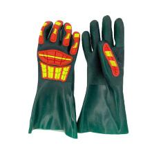 Sandy Coated Anti Slip Cotton Interlock Liner Chemical Resistant Long Cuff PVC Impact Glove