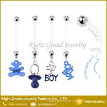 Benutzerdefinierte Schwangerschaft Bio Flex Flexible Sortierte Kirsche Bauchnabel Ringe