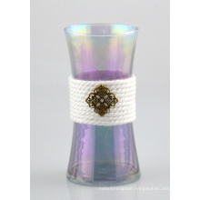 Glass Vase with Cotton Rope and Copper Decoration