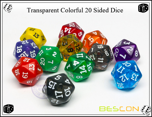 Transparent Colorful 20 Sided Dice