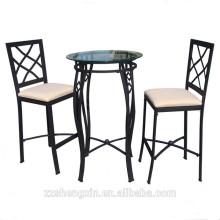 Conjunto de mesa e cadeira de mesa de aço inoxidável de aço superior