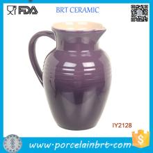 Olla de cerámica púrpura con mango Buen bote de leche de té de China