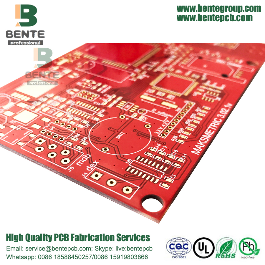 "Red Ink 4 Layers PCB IT180 High TG PCB ENIG 3u ""Thick Gold"