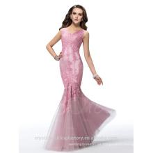 Alibaba Elegante Applique largo nuevo diseñador V cuello de encaje suave sirena vestidos de noche o vestido de dama de honor LE10