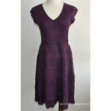Elegant Women Sleeveless Knit V-Neck Sweater Dress