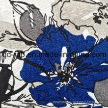 100% Lino flores impresas de tela (QF13-0261)