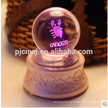 Оптовая Кристалл Музыкальная шкатулка шарики с 3D лазерной гравировкой логотипа на сувениры подарок