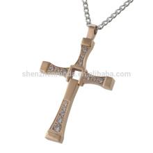 Collares de oro color de rosa para hombre de la fábrica de la joyería Collar de la cruz del diamante de CZ