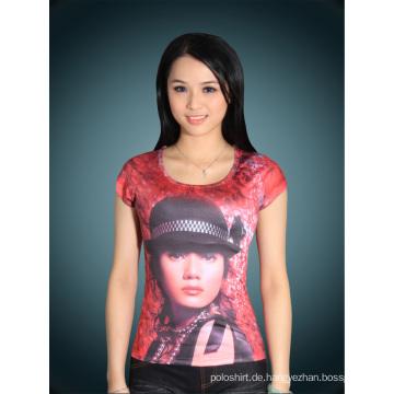 Damen Slim Fit Fashion Farbe Baumwolle bedrucktes T-Shirt