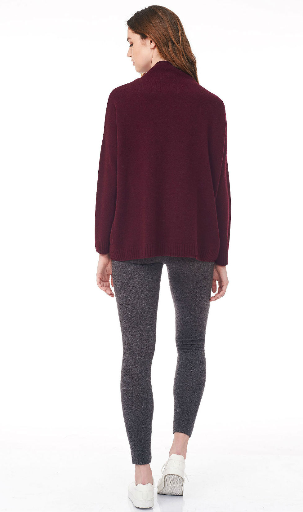 wine turtle neck sweater back