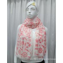 Lady Fashion Sailing algodão impresso lenço de seda Voile (YKY1084)