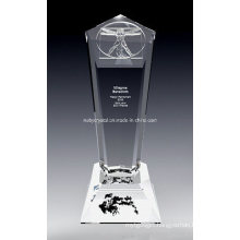 10 Inch Tall D Vinci Crystal Award Trophy (DV1N)