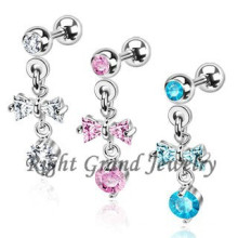 316L Stainless Steel Bowknot Zircon Tragus Piercing Jewelry