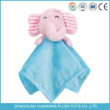 Yk ICTI 20 cm fábrica preço barato cobertor do bebê com cabeça de animal de brinquedo de pelúcia