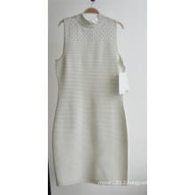 Ladies 100%Acrylic Ottoman Knit Sleeveless Zipper Sweater Dress