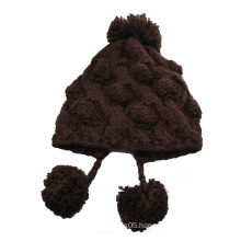 Brown Knitted Hat with Three Pompom for Girl (GKA0401-F00004)