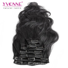 Unprocessed Virgin Brazilian Body Wavy Clip in Hair Extensions