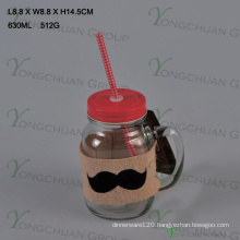 600ml Clear with Handle Glass Mason Jars for Sale