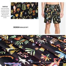 Diseño floral impreso tela de pantalones cortos de playa cepillado / Casual ropa tela