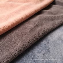 Cálido y suave tejido de poliéster de lana de coral de doble cara