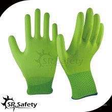 SRSAFETY 13 калибр hi-viz с покрытием из желтого нейлона с покрытием на пальмовых перчатках / рабочая оболочка для покрытия pu