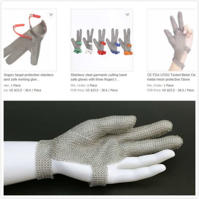 Three fingers target protection stainless steel hand safe working gloves anti garments