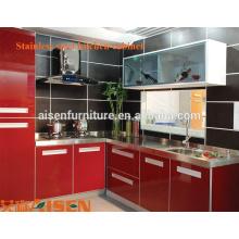 China precio de fábrica de acero inoxidable modular cocina barata muebles / gabinetes de cocina de metal moderno diseño