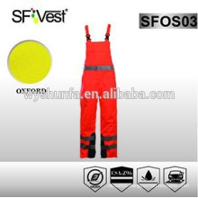 high quality workwear orange coveralls with 100% polyester 300D oxford pu coated conform to EN ISO 20471& ANSI/ISEA 107