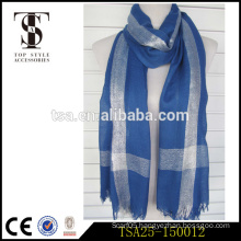 cheap special processes polyester fabric women scarf with metallic made in china