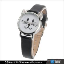 Crianças relógio de aço inoxidável volta relógio de desenhos animados de cor preta