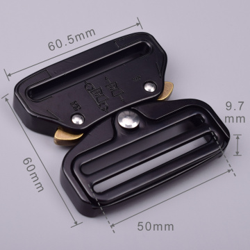 50mm Heavy Duty 300KG Steel Tactical Military Black Electrophoresis Cobra Belt Buckle