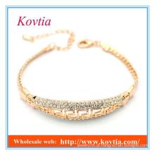 Moda jóias finas pavimentar pulseira de ouro de cristal 18k