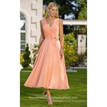 Wholesale Good Quality Elegant New V Neck Chiffon Lace Short A Line Bridesmaid Dresses LBS13