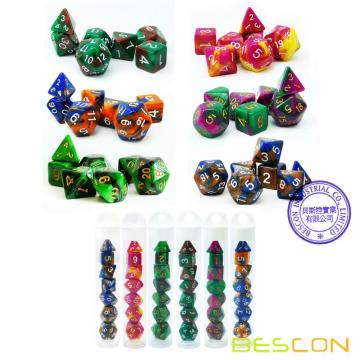 Bescon Mini Two Tone Polyhedral RPG Dice Set 10MM, Small Dice Set D4-D20 in Tube, 6 New Assorted Colored of 42pcs