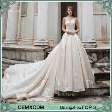 Einfache Brautkleid Brautkleid lange Zug Braut Kleid Perlen Satin Brautkleid