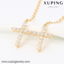 43189 -Xuping Dernière conception double croix pendentif collier en alliage d'or