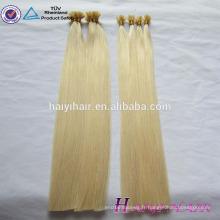 6A, 7A, 8A 100% de cheveux humains de haute qualité populaire pas cher en gros 0.5 / 0.8 / 1.0g 8a grade vierge russe cheveux je pointe blond