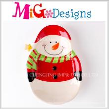 China fornecedor grande presente de natal boneco de neve design placa ceramica