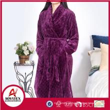 wholesale 280gsm cut plush flannel fleece women bathrobe sleepwear